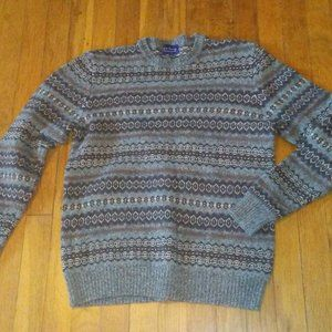 Grey Blue White Club Room Lambswool Sweater - M